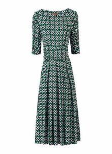 Womens *Jolie Moi Green Geometric Print Viscose Midi Skater Dress, Green