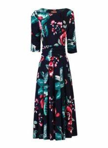 Womens *Jolie Moi Navy Floral Print Viscose Dress- Navy, Navy