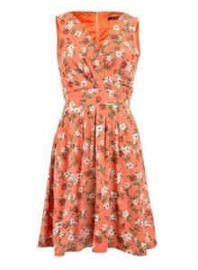 Womens *Tenki Orange Floral Print Skater Dress- Orange, Orange