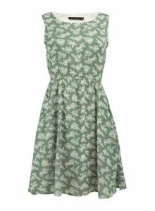 Womens *Tenki Green Floral Print Tea Dress- Green, Green