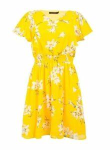 Womens *Tenki Yellow Floral Print Skater Dress, Yellow