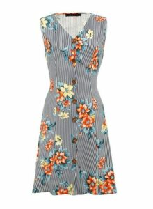 Womens *Tenki Blue Floral Print Pinstriped Shift Dress- Blue, Blue