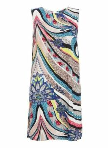 Womens *Quiz Multi Coloured Abstract Print Tunic Dress- Multi Coloured, Multi Coloured