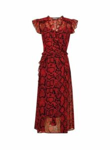 Womens **Tall Red Ruffle Snake Print Midi Dress- Red, Red