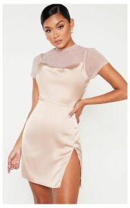 Rose Satin Cowl Mesh Diamante 2 in 1 Bodycon Dress, Pink