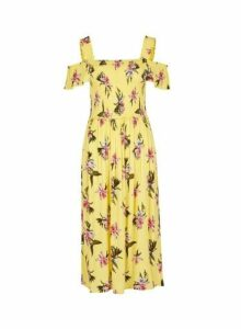 Womens Yellow Floral Print Shirred Dress- Yellow, Yellow