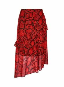 Womens Red Snake Print Ruffle Midi Skirt- Red, Red