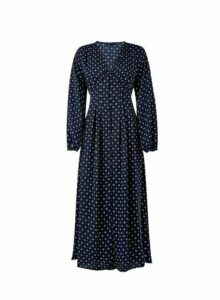 Womens **Only Navy Blue Long Sleeve Swing Dress, Blue