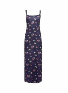 Womens Navy Strappy Jersey Slip Maxi Dress- Blue, Blue