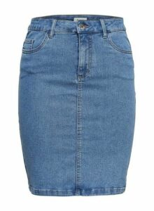 Womens **Only Mid Blue Denim Skirt- Blue, Blue