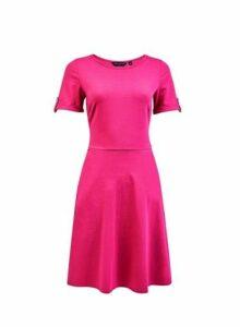 Womens Pink Button T-Shirt Dress- Pink, Pink