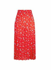 Womens Red Ditsy Print Midi Skirt- Red, Red
