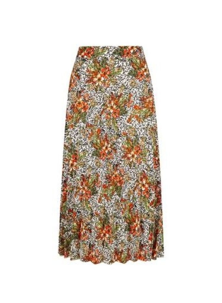 Womens Tropical Print Midi Skirt- Multi, Multi