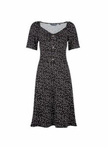 Womens **Tall Black Spot Print Button Dress, Black