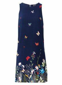 Womens *Izabel London Navy Floral Print Shift Dress- Navy, Navy