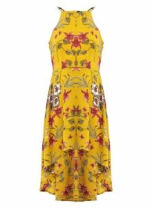 Womens *Izabel London Mustard Floral Print Dress, Mustard
