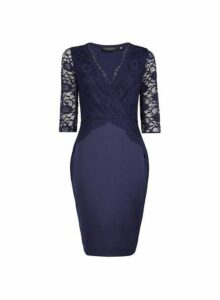 Womens **Navy Lace Top Bodycon Dress- Blue, Blue