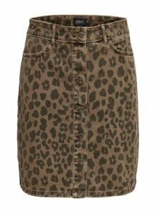 Womens **Only Multi Colour Leopard Print Denim Skirt- Multi Colour, Multi Colour