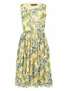 Womens *Tenki Yellow Floral Print Midi Dress, Yellow
