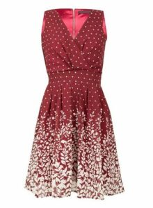 Womens *Tenki Maroon V-Neck Leaf Print Dress- Maroon, Maroon