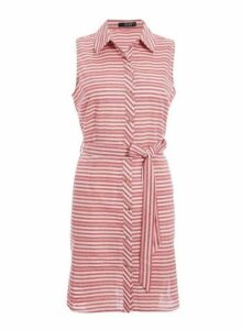 Womens *Quiz Red Cotton Button Front Dress- Red, Red