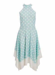 Womens *Quiz Mint Polka Dot Print Hanky Midi Dress- Mint, Mint