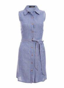 Womens *Quiz Blue Cotton Button Front Dress- Blue, Blue