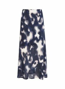 Womens Navy Tie Dye Mesh Skirt- Blue, Blue
