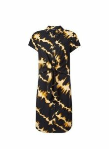 Womens **Tall Black Tie Dye Print Dress- Black, Black