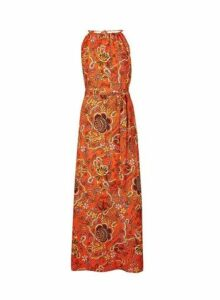 Womens Red Paisley Print Halter Neck Maxi Dress, Red