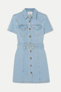 Nanushka - Mora Belted Denim Mini Dress - Light denim