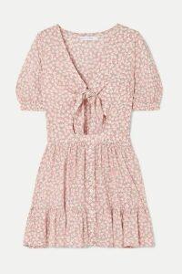 Faithfull The Brand - Marigot Tie-front Cutout Floral-print Crepe Mini Dress - Blush