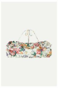 Zimmermann - Allia Off-the-shoulder Floral-print Linen Top - White