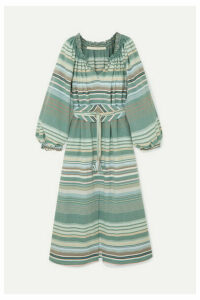 Anna Mason - Bardot Belted Striped Cotton Dress - Green