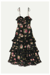 Zimmermann - Honour Lace-trimmed Tiered Floral-print Silk Dress - Black