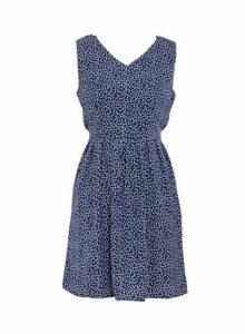 Womens *Blue Vanilla Navy Double V-Neck Skater Dress, Navy