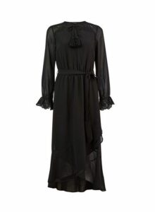Womens Black Broderie Maxi Dress- Black, Black