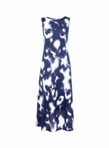 Womens Blue Tie Dye Mesh Midi Dress- Blue, Blue
