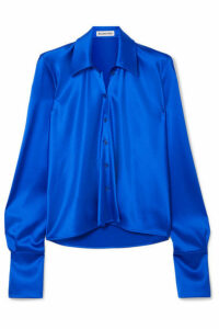 Balenciaga - Draped Satin Blouse - Blue