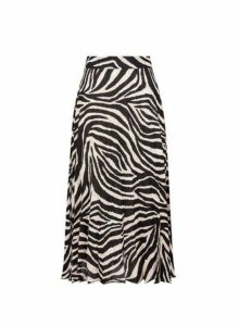 Womens White Zebra Print Pleated Skirt- White, White