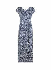 Womens Petite Navy Ditsy Print Maxi Dress- Blue, Blue