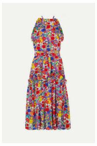 Borgo De Nor - Dora Floral-print Crepe De Chine Halterneck Maxi Dress - Pink
