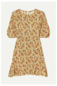 Faithfull The Brand - Jeanette Floral-print Ruffled Crepe Mini Dress - Peach