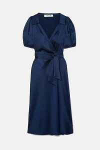 Diane von Furstenberg - Valentina Satin Wrap Dress - Navy