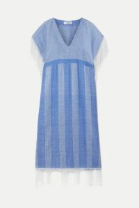 LemLem - + Net Sustain Zinab Fringed Metallic Striped Cotton-blend Voile Kaftan - Light blue