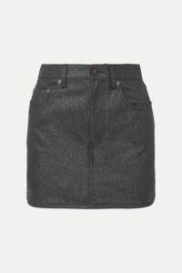 SAINT LAURENT - Glittered-denim Mini Skirt - Black
