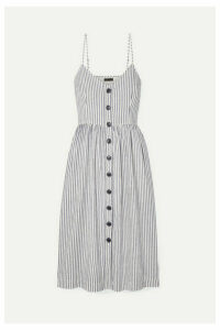 ATM Anthony Thomas Melillo - Striped Cotton And Linen-blend Midi Dress - White