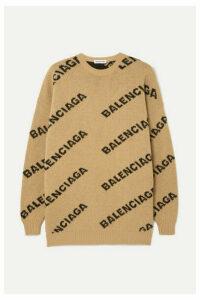 Balenciaga - Oversized Intarsia Wool-blend Sweater - Beige