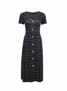 Womens Black Ditsy Print Midi Dress- Black, Black