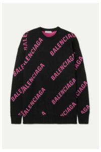 Balenciaga - Oversized Intarsia Cotton-blend Sweater - Black